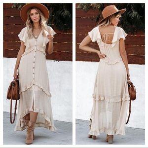 Vici Keystone High Low Ruffle Dress Natural Medium